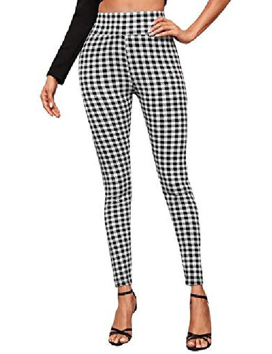 women's casual elastic high waisted ankle plaid pants skinny leggings black white s