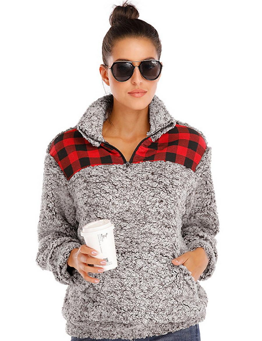Women's Fall & Winter Open Front Stand Collar Teddy Coat Regular Color Block Daily Basic Fur Trim Faux Fur Khaki Green Gray S M L XL