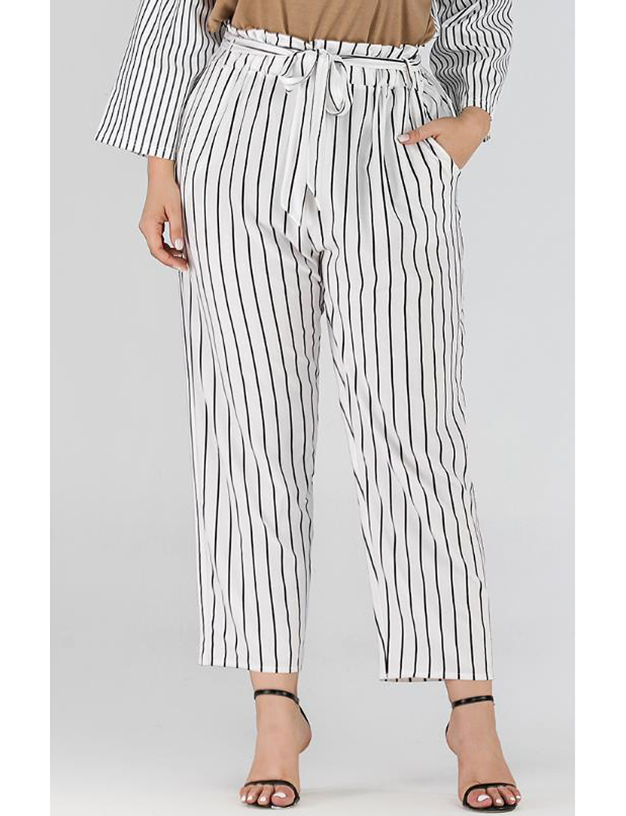 Women's Basic Breathable Plus Size Loose Daily Chinos Pants Striped Full Length High Waist White