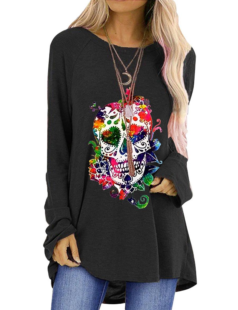 Women's Halloween T-shirt Graphic Prints Long Sleeve Round Neck Tops Halloween Basic Top Black Blue Red
