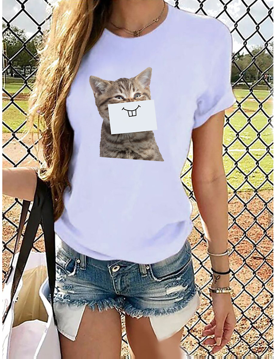 Women's T-shirt Butterfly Graphic Prints Round Neck Tops Loose 100% Cotton Basic Top Cat White Purple