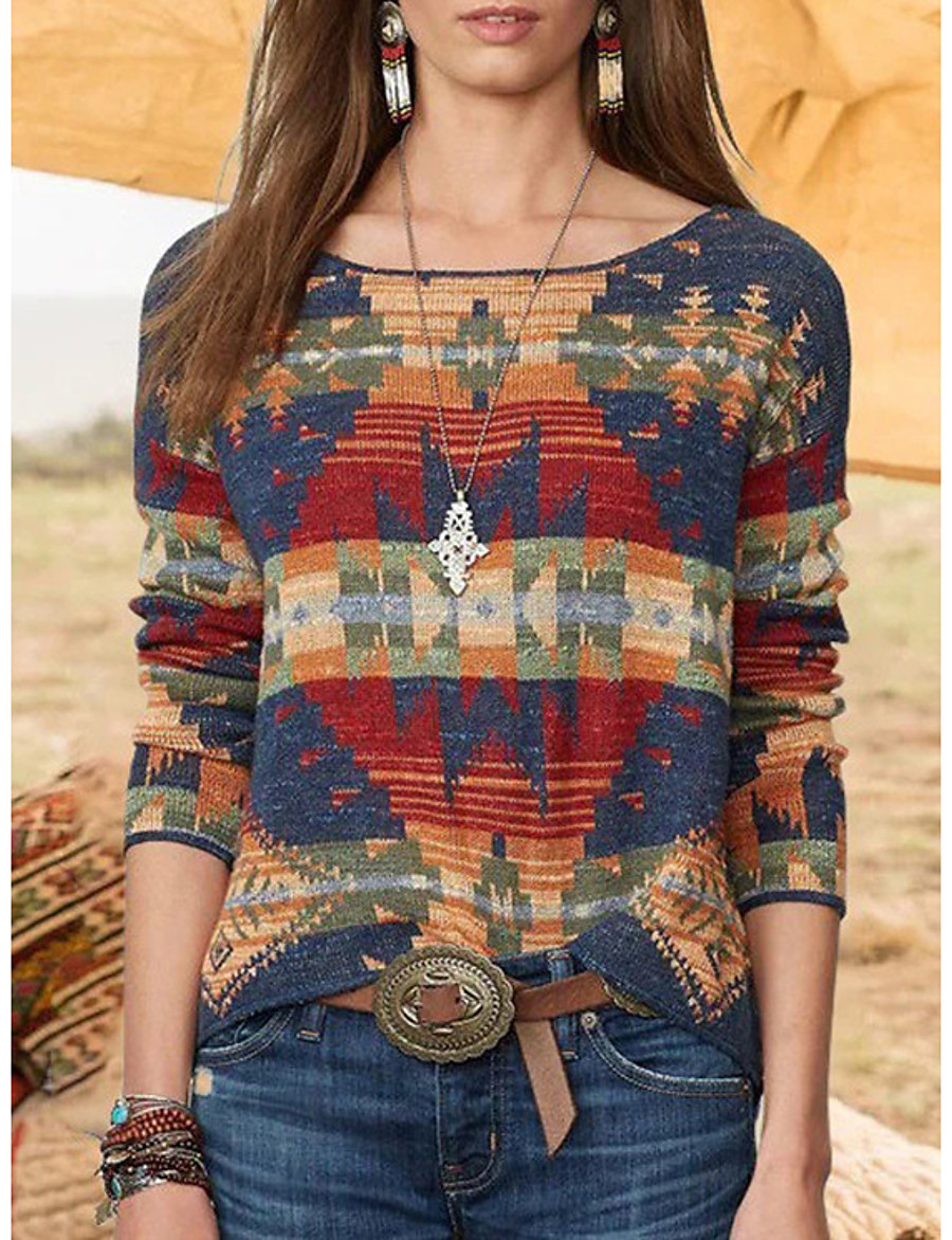Women's Geometric Pullover Long Sleeve Plus Size Sweater Cardigans Crew Neck Fall Winter Blue Red Blushing Pink
