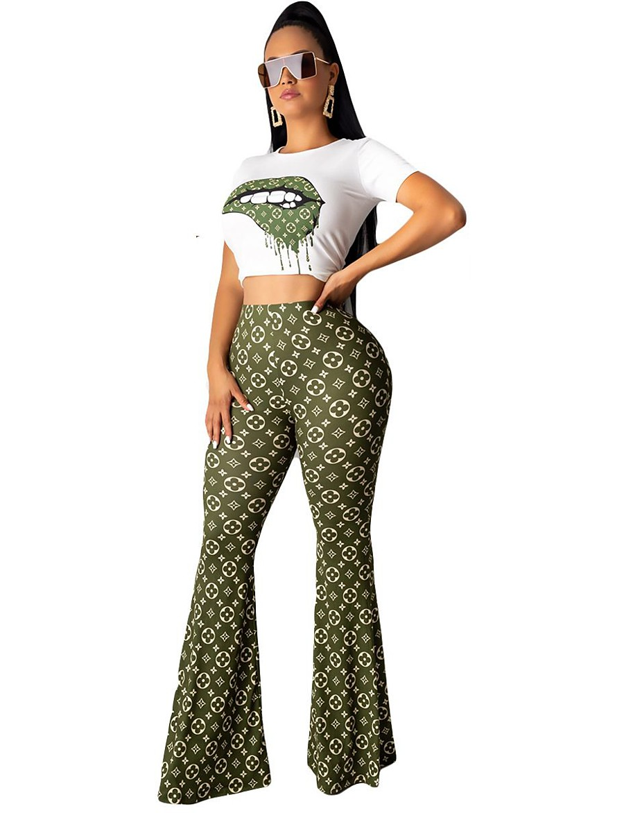 Women's Streetwear Print Going out Casual / Daily Two Piece Set Crop Pant Loungewear Patchwork Tops