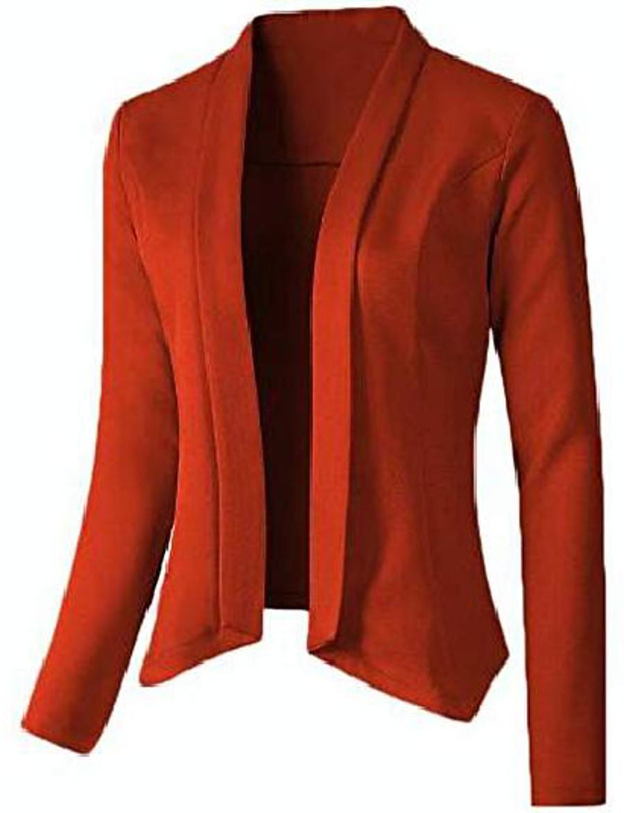 Women's Blazer Solid Color Work Long Sleeve Coat Casual Fall Spring Regular Jacket Pink / Regular Fit / Cotton
