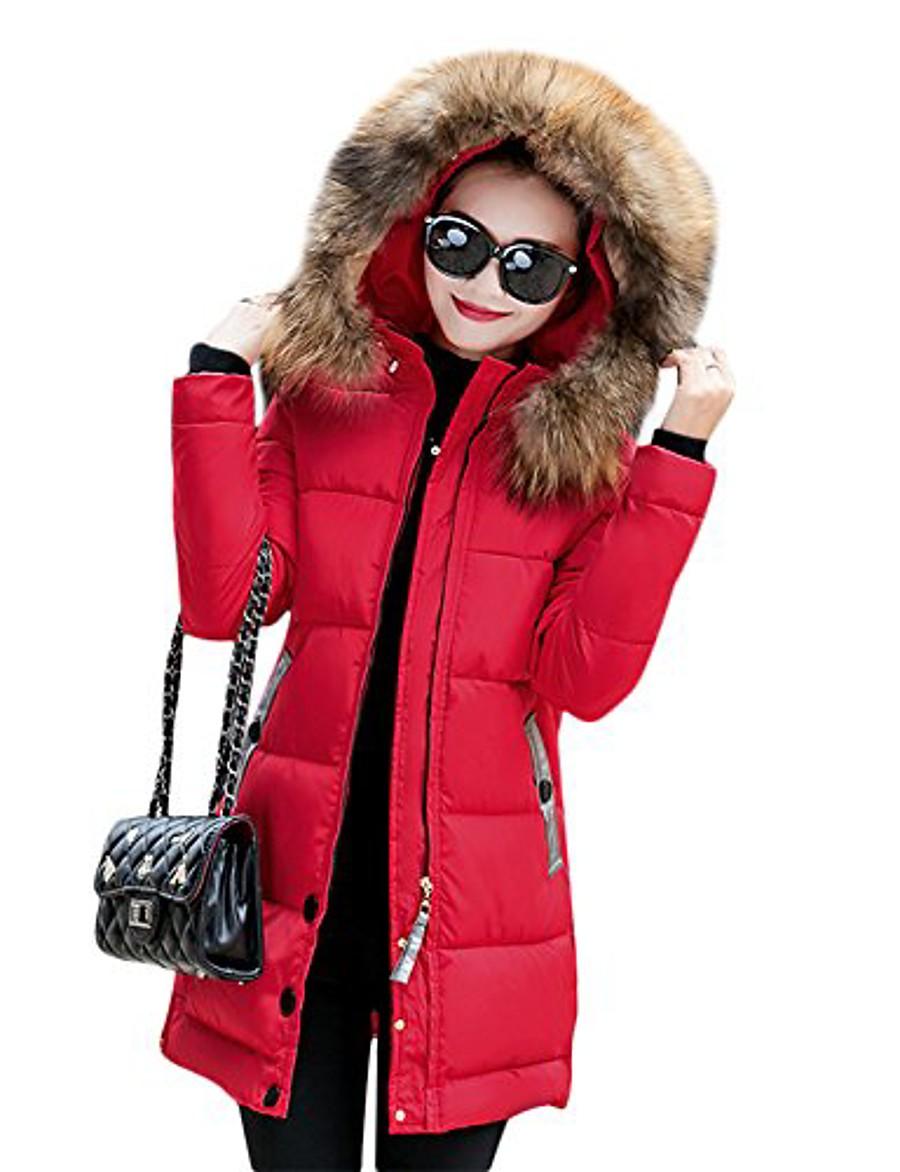 women's winter warm down coat faux fur hooded parka puffer jacket long overcoat medium red