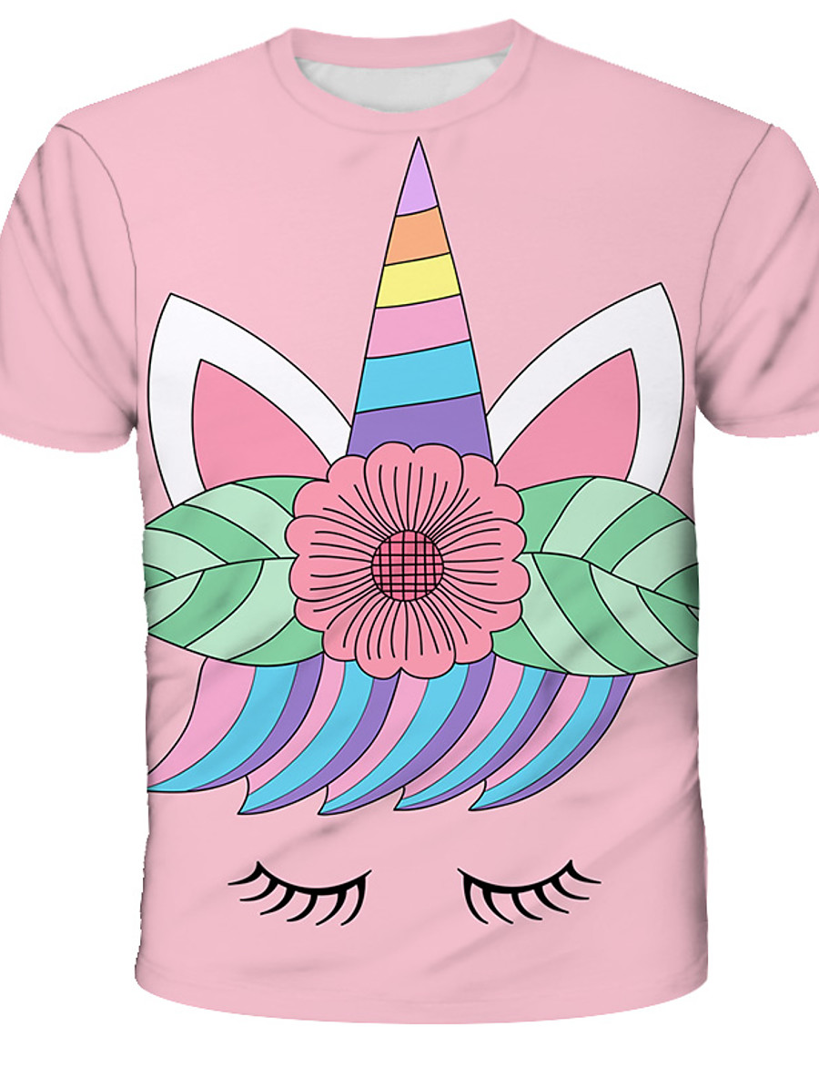 Kids Girls' T shirt Tee Short Sleeve Unicorn Floral Color Block 3D Animal Print Blushing Pink Children Tops Summer Active