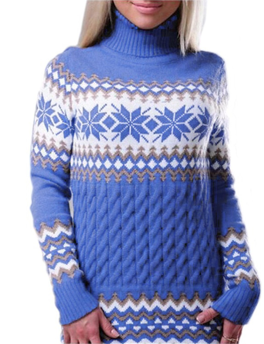 Women's Christmas Floral Braided Geometric Pullover Long Sleeve Sweater Cardigans Turtleneck Spring White Black Royal Blue