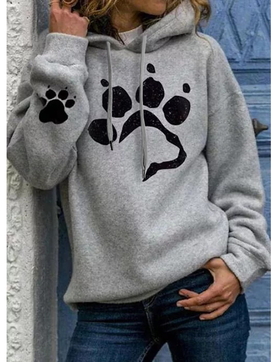 Women's Hoodie Sweatshirt Pullover Hoodie Sweatshirt Dog Graphic Print Daily Basic Hoodies Sweatshirts  Cat black Silver Light Gray