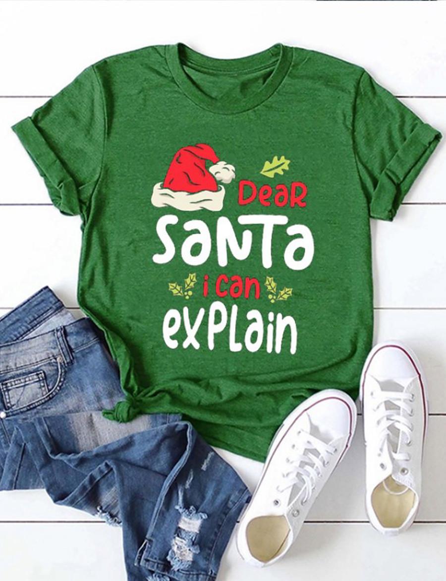 Women's Christmas T shirt 3D Print Round Neck Tops Christmas Basic Top White Black Red