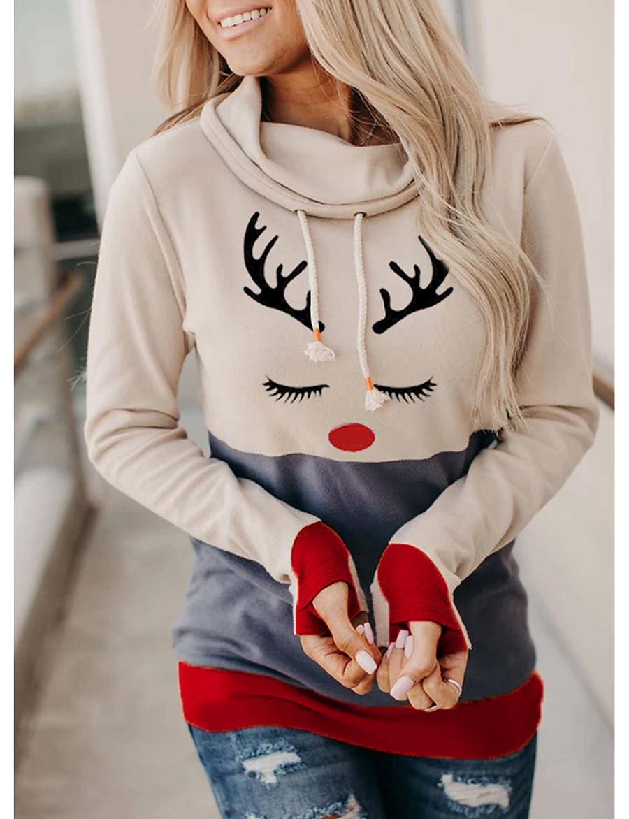 Women's Pullover Hoodie Sweatshirt Graphic Color Block Daily Casual Christmas Hoodies Sweatshirts  Beige