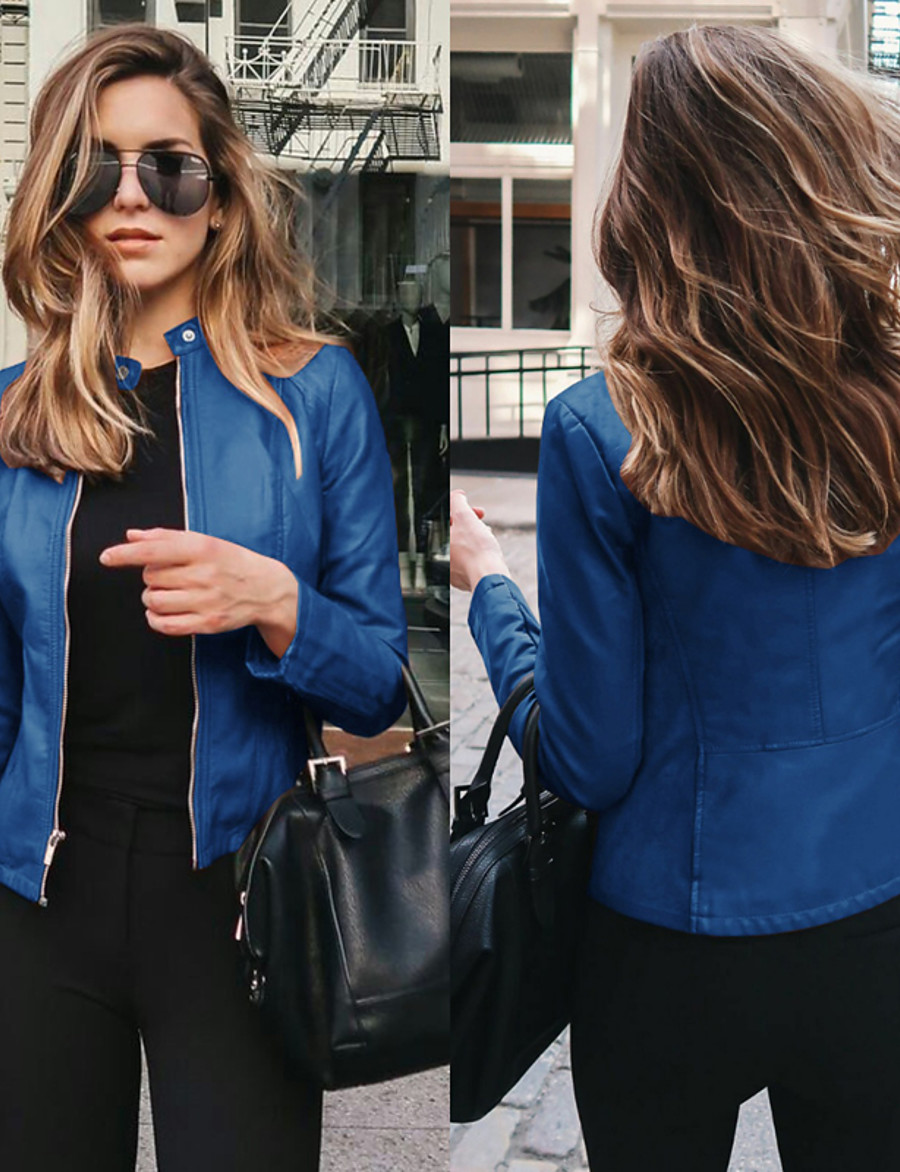 Women's Jacket Solid Color Street Chic & Modern Navy Wine Pink ArmyGreen S M L XL