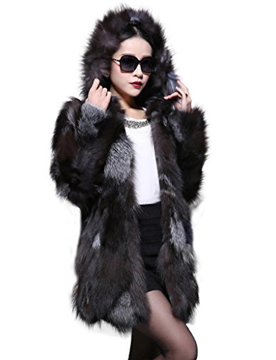 women's long real silver fox fur coat with hood us 12