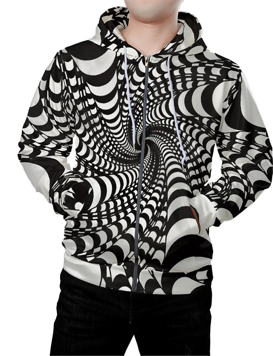Men's Graphic 3D Zip Up Hoodie Sweatshirt Hooded Front Pocket 3D Print Daily Weekend 3D Print Hoodies Sweatshirts  Long Sleeve Black