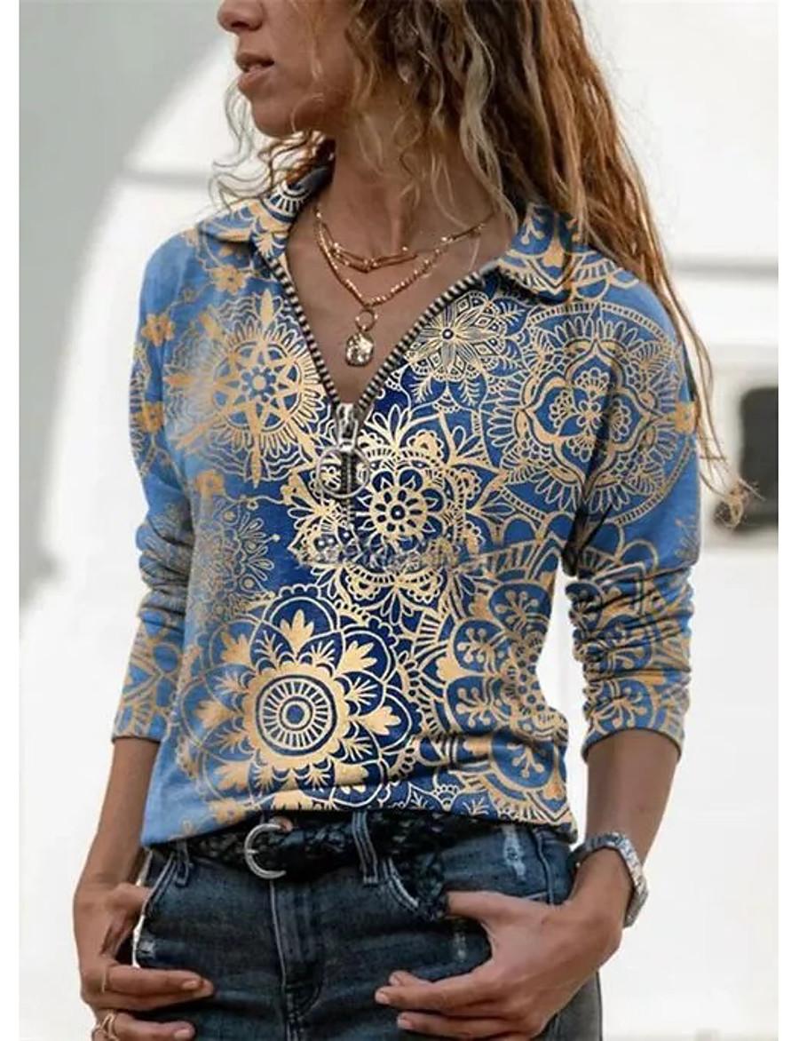 Women's Blouse Shirt Long Sleeve Floral Graphic Prints V Neck Shirt Collar Quarter Zip Print Basic Tops Blue Purple Green