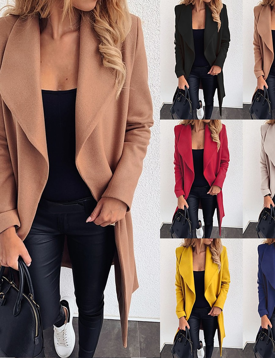 Women's Fall & Winter Coat Long Solid Colored Daily Black Red Yellow Khaki S M L XL