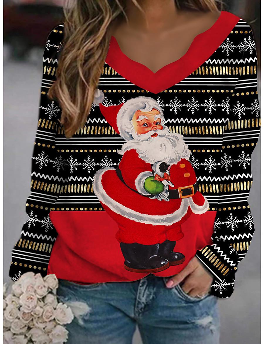 Women's Christmas T shirt Cat Graphic 3D Long Sleeve Print Round Neck V Neck Tops Basic Casual Christmas Basic Top Black Green