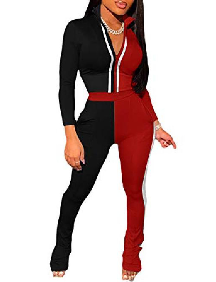 femmes plus la taille 2 pièces ensemble long bloc de couleur patchwork veste courte taille haute legging survêtement décontracté 2 poches noir&rouge xxl