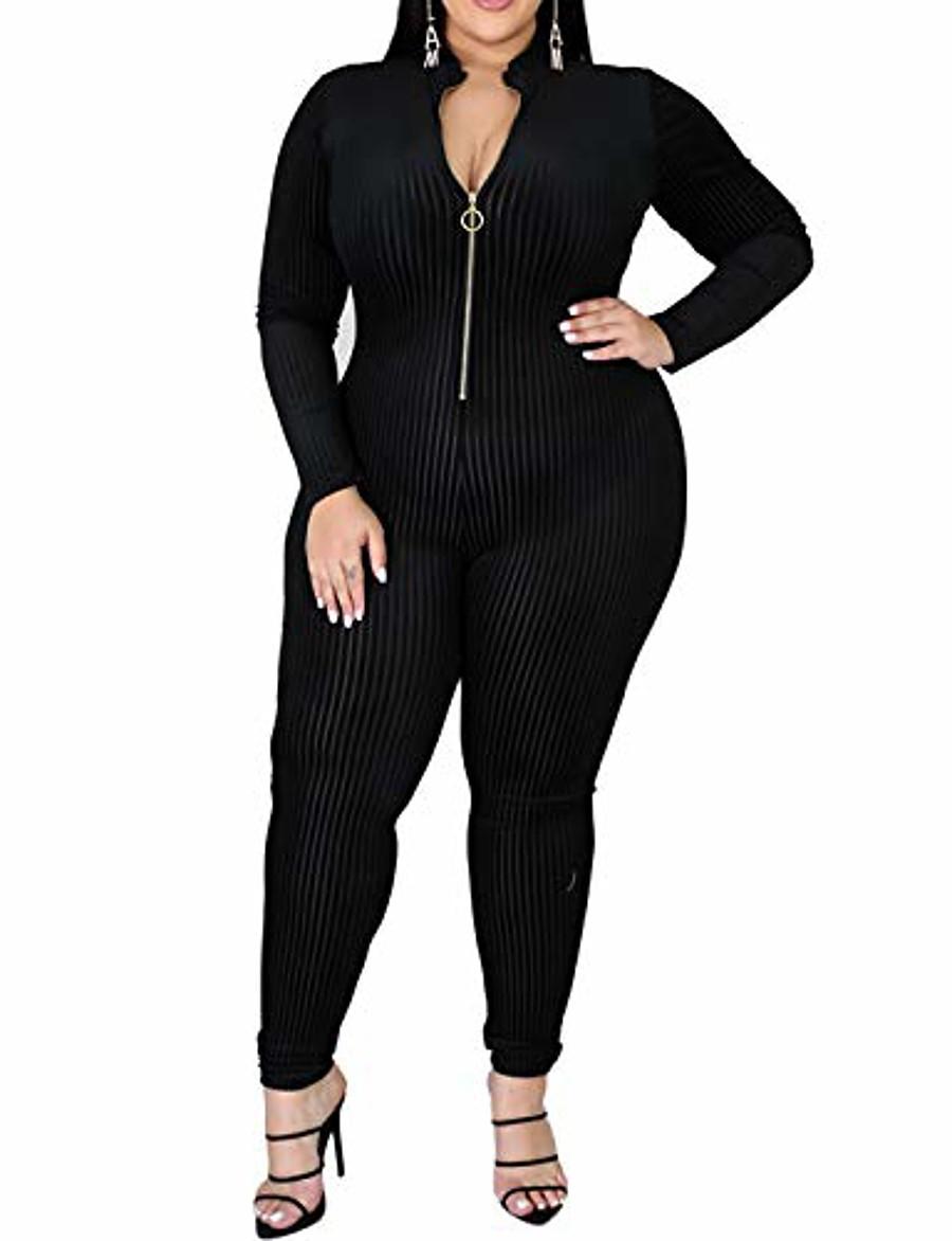 Combinaisons une pièce pour femmes - Plus Size Floral Print Zip Deep V Neck Bodycon Long Pants Combinaisons Catsuits Combishorts Noir 4xl