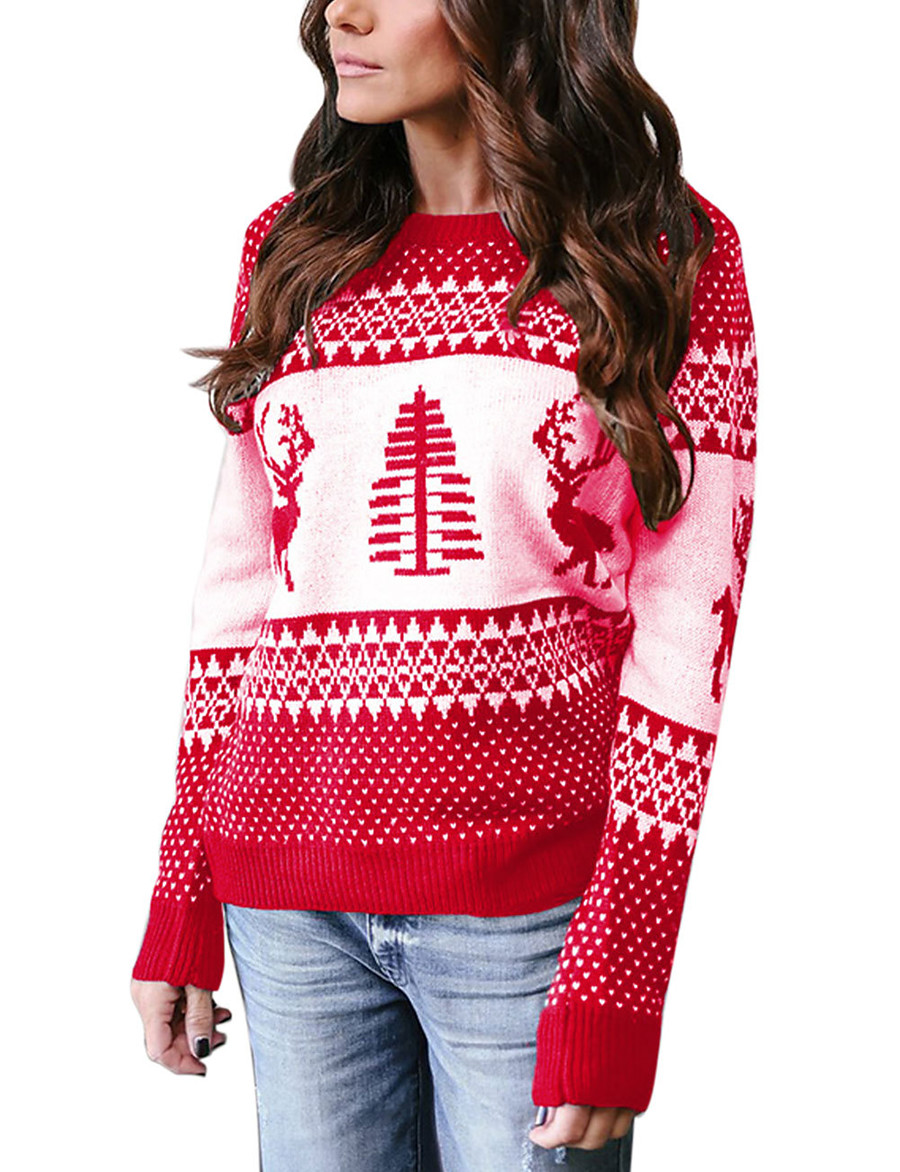 Women's Basic Christmas Knitted Geometric Pullover Long Sleeve Sweater Cardigans Crew Neck Fall Winter Blue Green Gray