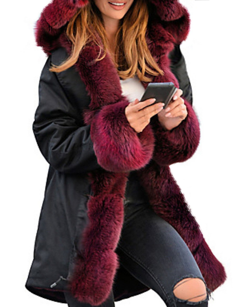 Women's Winter Faux Fur Coat Long Solid Colored Daily Black Wine Camel Gray S M L XL