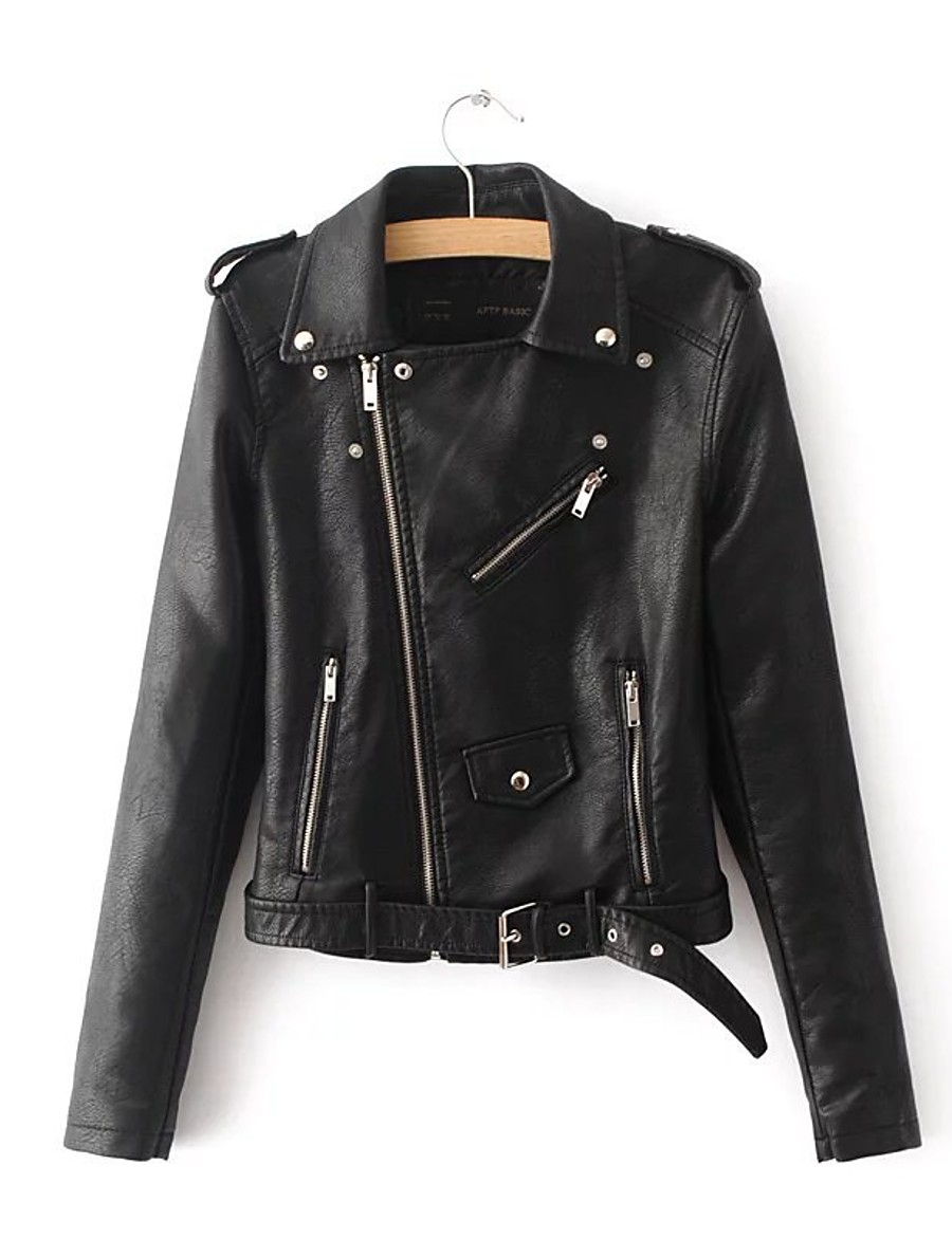 Women's Solid Colored Spring &  Fall Notch lapel collar Faux Leather Jacket Regular Going out Long Sleeve Faux Leather Coat Tops