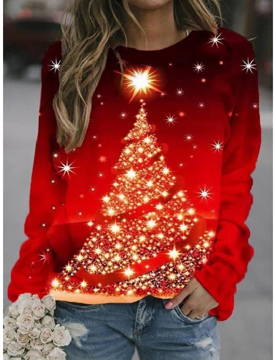 Women's Hoodie Sweatshirt Print Daily Christmas Hoodies Sweatshirts  Loose Red