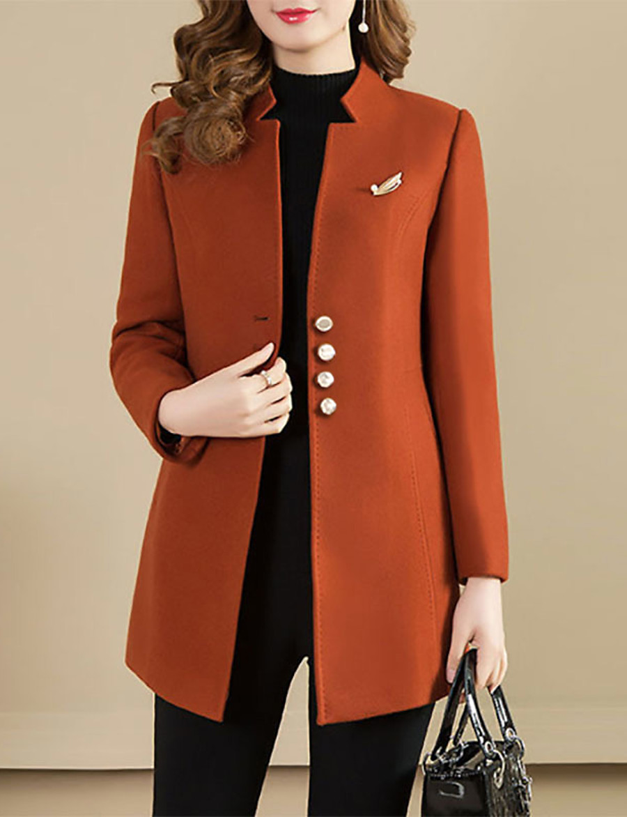 Women's Single Breasted Peaked Lapel Coat Regular Solid Colored Daily Vintage Camel M L XL XXL / Going out