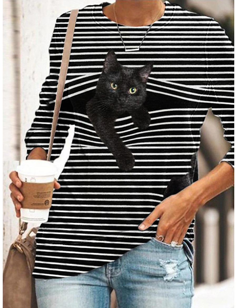 Women's Halloween Tunic T shirt Long Sleeve Striped Cat 3D Cartoon Round Neck Print Basic Tops Blue Yellow Gray