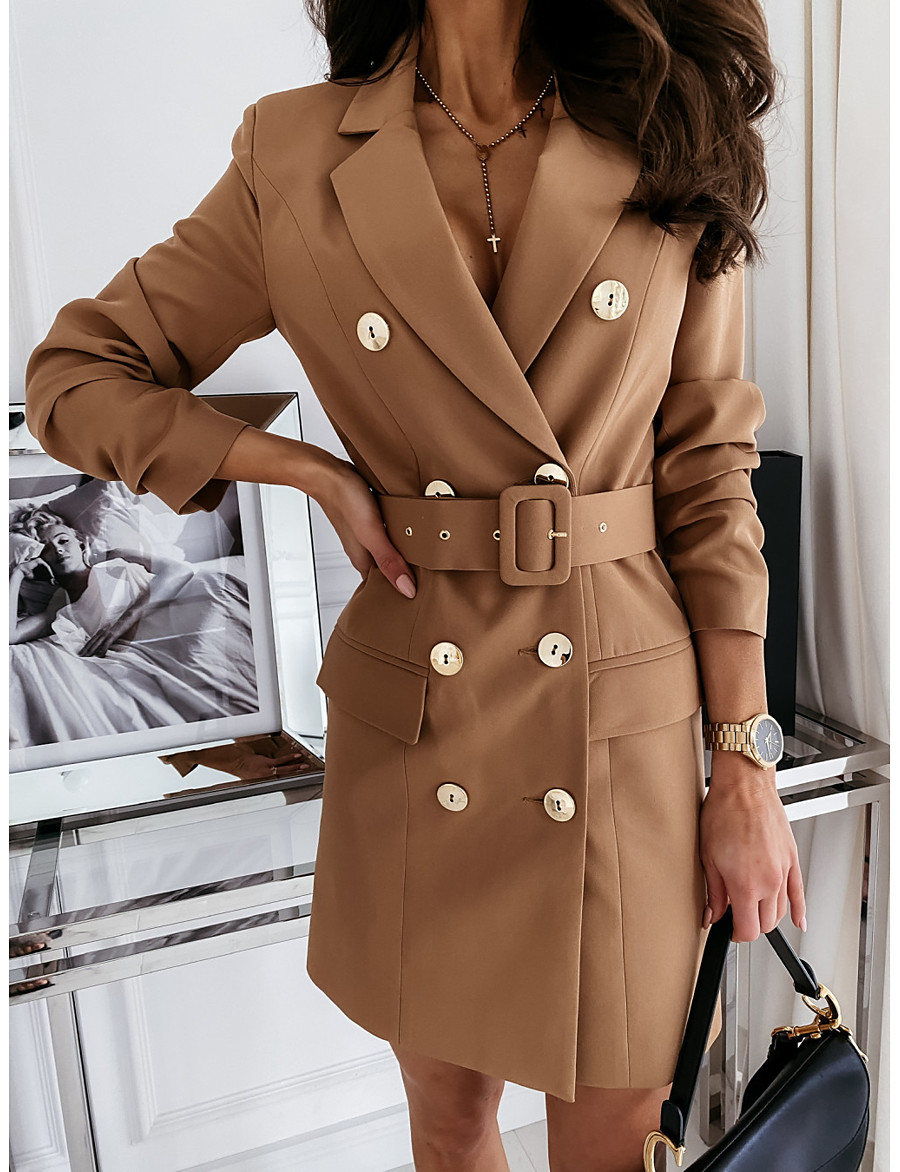 Women's Blazer With Belt Solid Colored Chic & Modern Long Sleeve Coat Business Fall Spring Long Double Breasted Jacket Khaki / Regular Fit / Notch lapel collar / Rabbit Fur / Plus Size