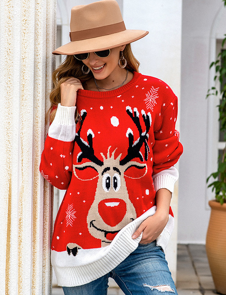 Women's Pullover Animal Knitted Long Sleeve Loose Sweater Cardigans Fall Winter Crew Neck Black Red