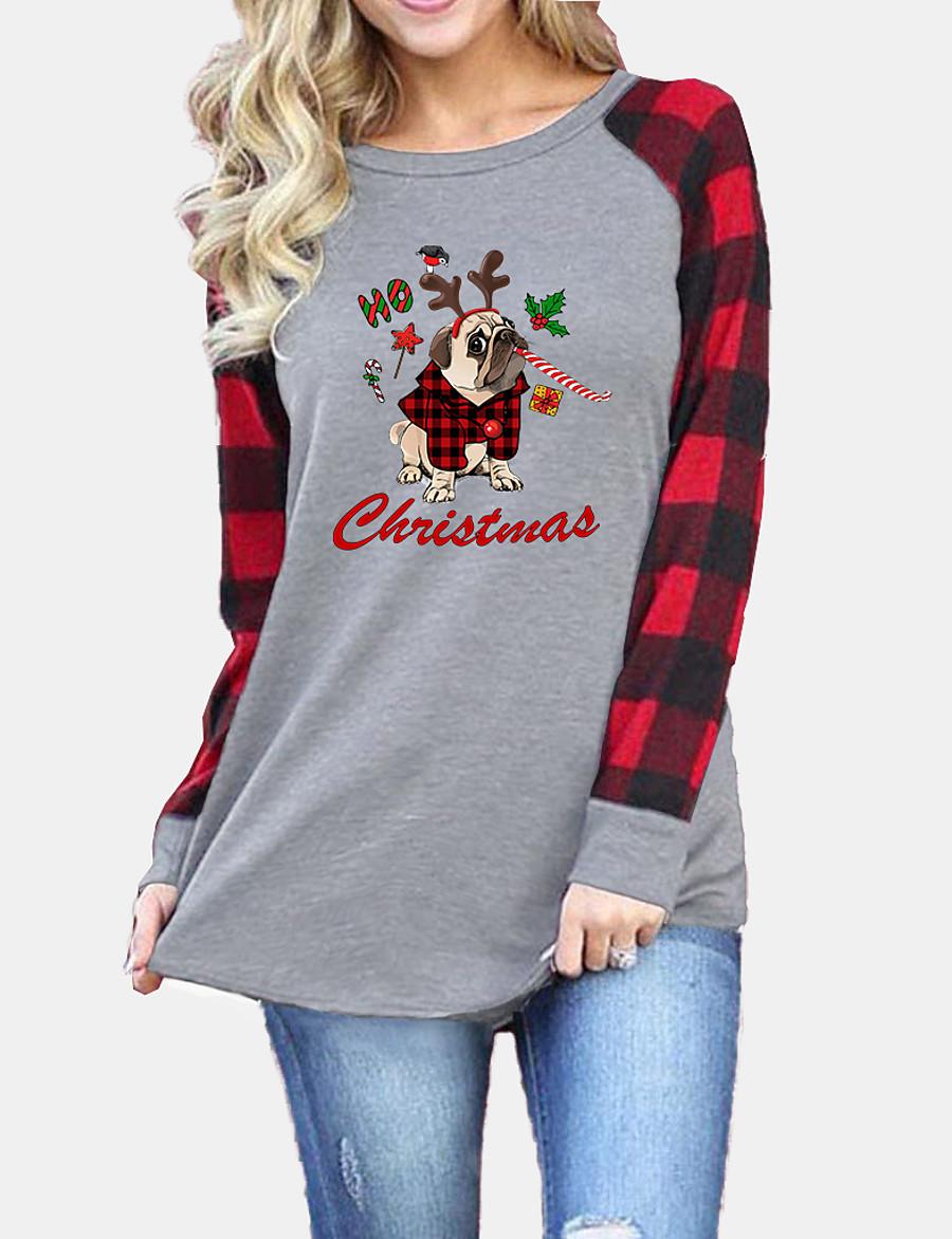 Women's Christmas T shirt Dog Plaid Graphic Long Sleeve Round Neck Tops Basic Christmas Basic Top Black Gray