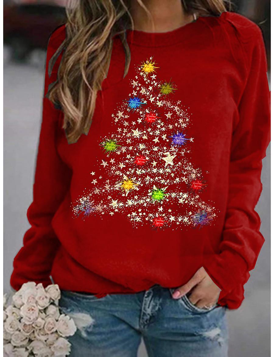 Women's Hoodie Sweatshirt Graphic Christmas Daily Basic Christmas Hoodies Sweatshirts  Wine Black Red