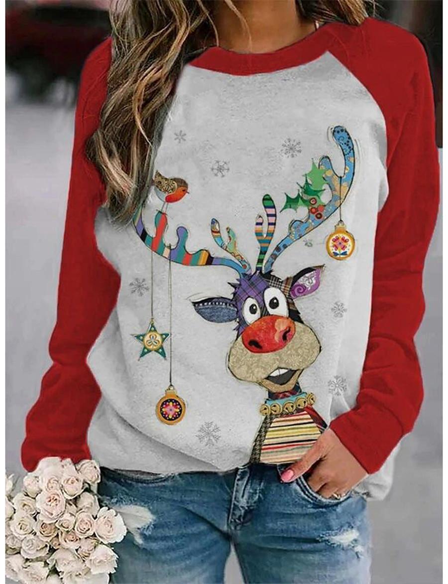 Women's Christmas Tunic Cartoon Cat Deer Long Sleeve Print Round Neck Basic Christmas Tops Cotton Black Purple Red