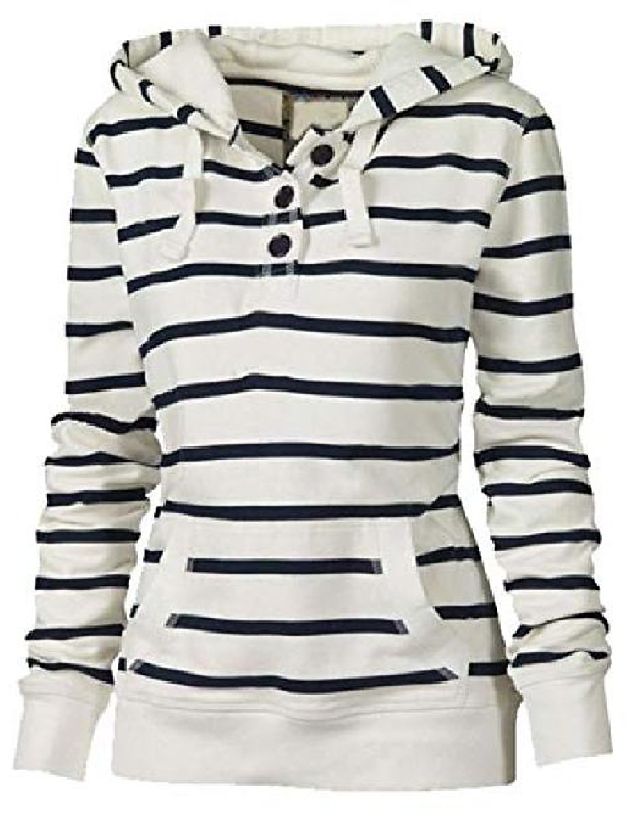 Women's Pullover Hoodie Sweatshirt Stripes Front Pocket Button Casual Daily Basic Hoodies Sweatshirts  Photo Color