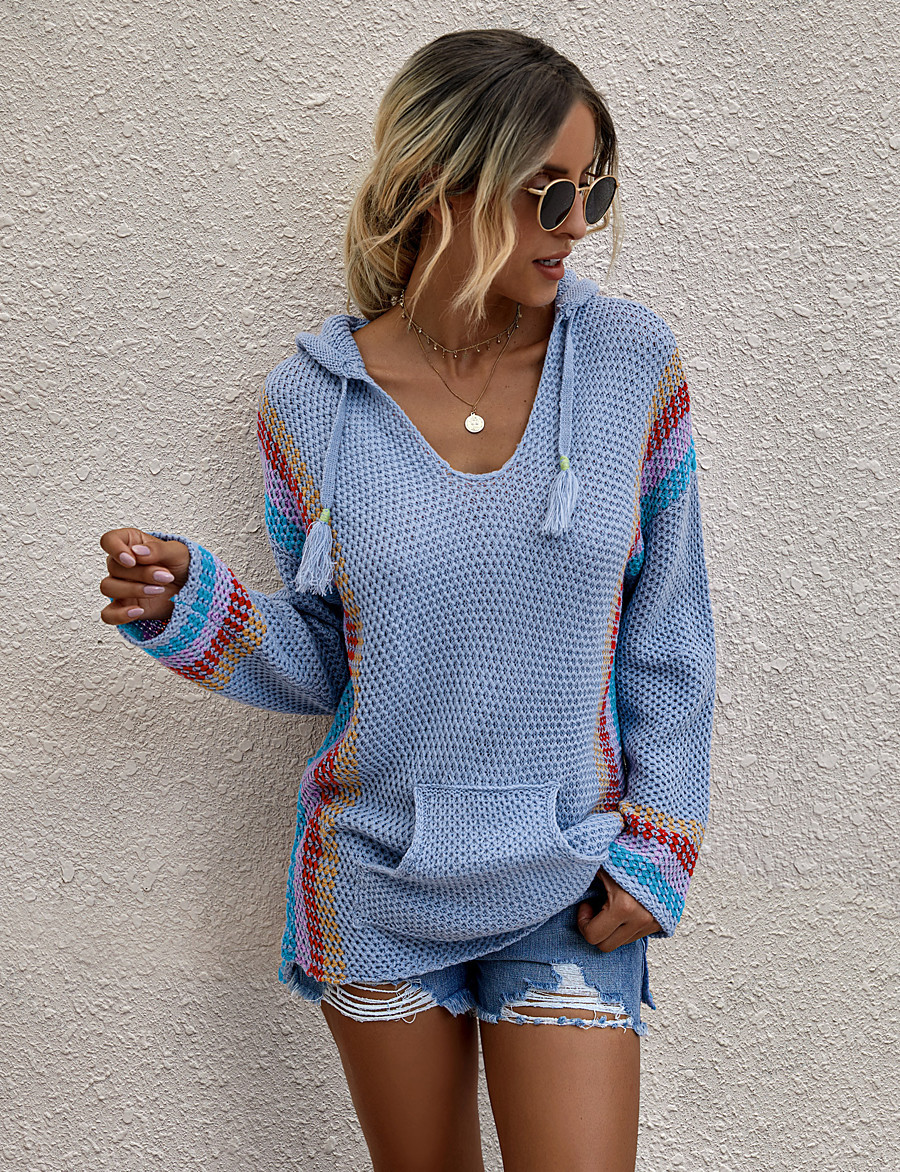 Women's Stylish Knitted Solid Color Pullover Long Sleeve Loose Sweater Cardigans Hooded Fall Winter White Blue Orange