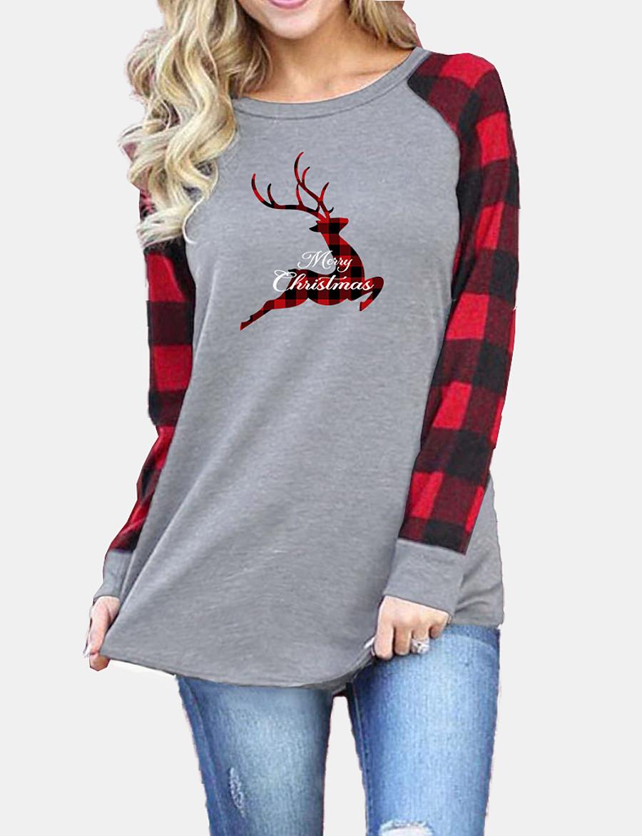 Women's Christmas T shirt Plaid Graphic Reindeer Long Sleeve Patchwork Round Neck Tops Basic Christmas Basic Top Black Gray
