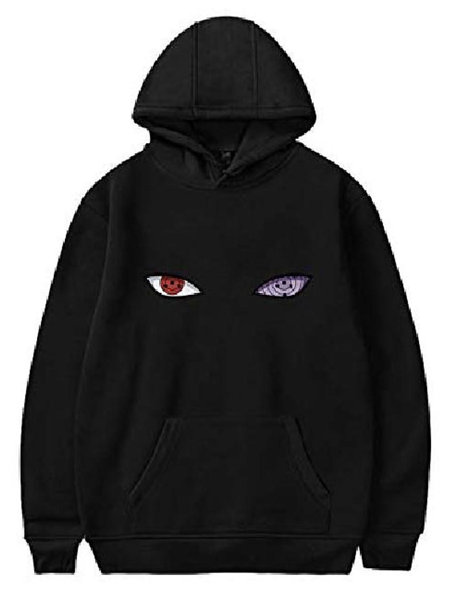 naruto anime hoodies for youth men akatsuki blood eye 3d print sweatshirt long sleeves hooded sweaters pullover (blacka,l)