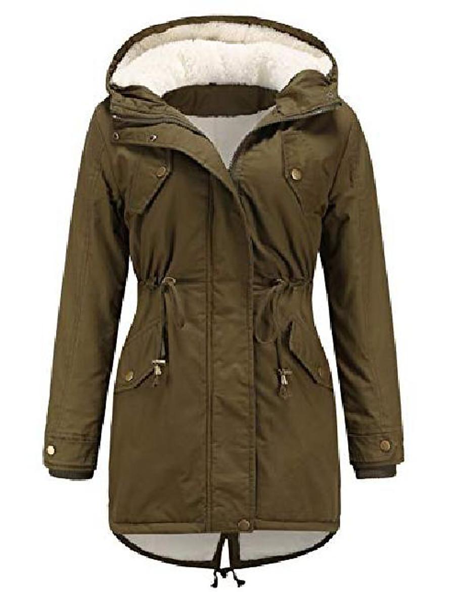 womens winter warm thicken sherpa lined hoody pocket parka jacket overcoat(green-xs)