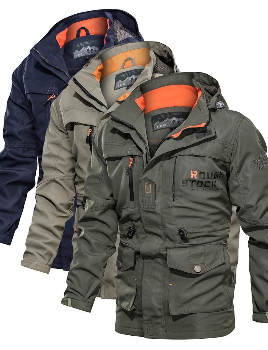 Men's Hiking Jacket Hiking Windbreaker Military Tactical Jacket Winter Outdoor Thermal Warm Waterproof Windproof Lightweight Jacket Top Camping / Hiking Hunting Fishing Army Green Blue Khaki / Casual