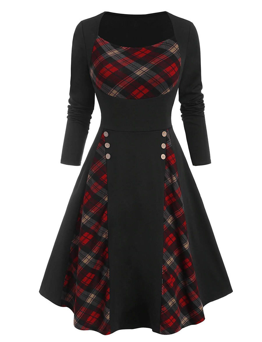 Women's Sheath Dress Knee Length Dress Purple Green Red Long Sleeve Plaid / Check Color Block Patchwork Button Fall Winter Round Neck Elegant Sexy 2021 S M L XL XXL / Party / Holiday