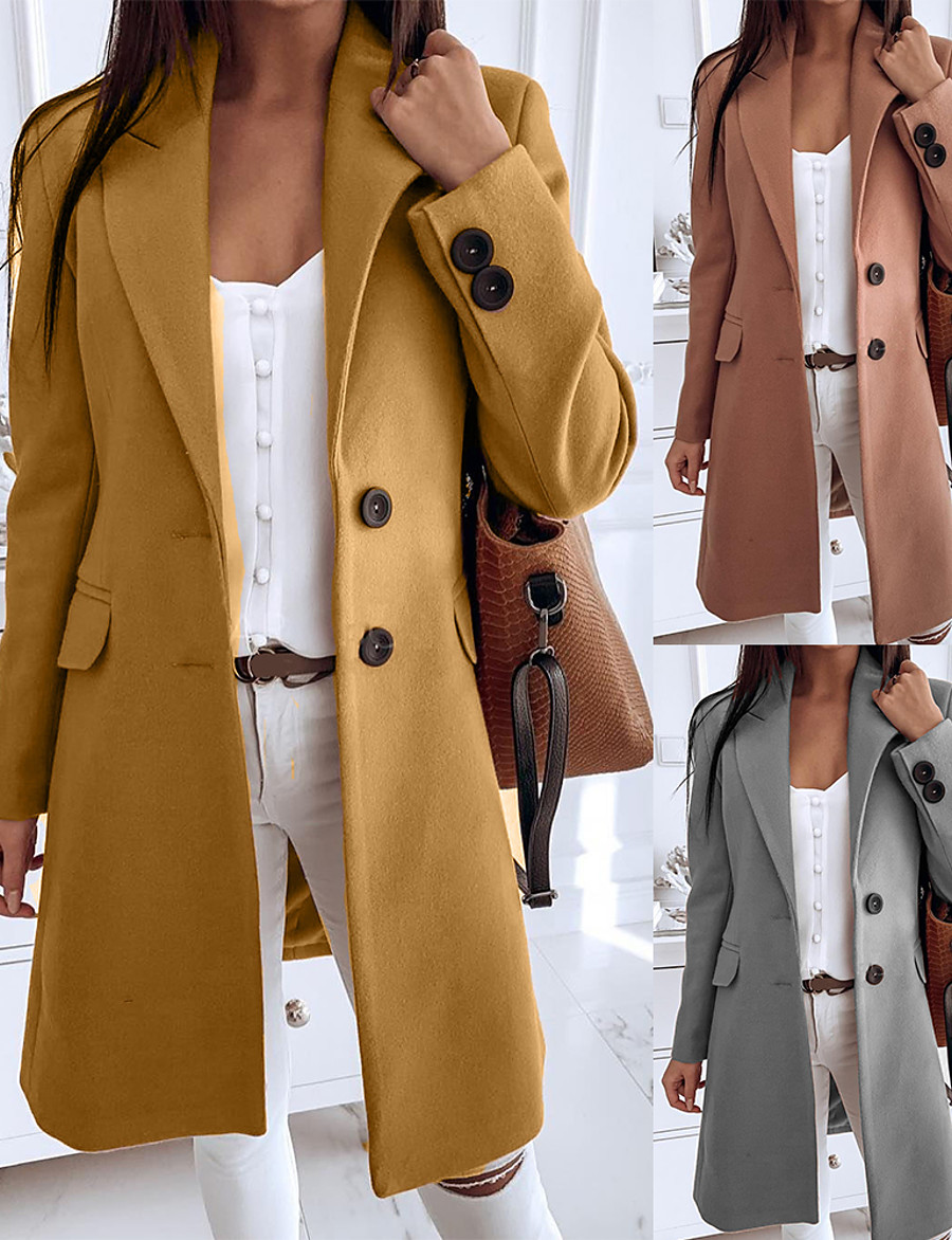 Women's Fall & Winter Trench Coat Long Solid Colored Daily Yellow Camel Gray S M L XL