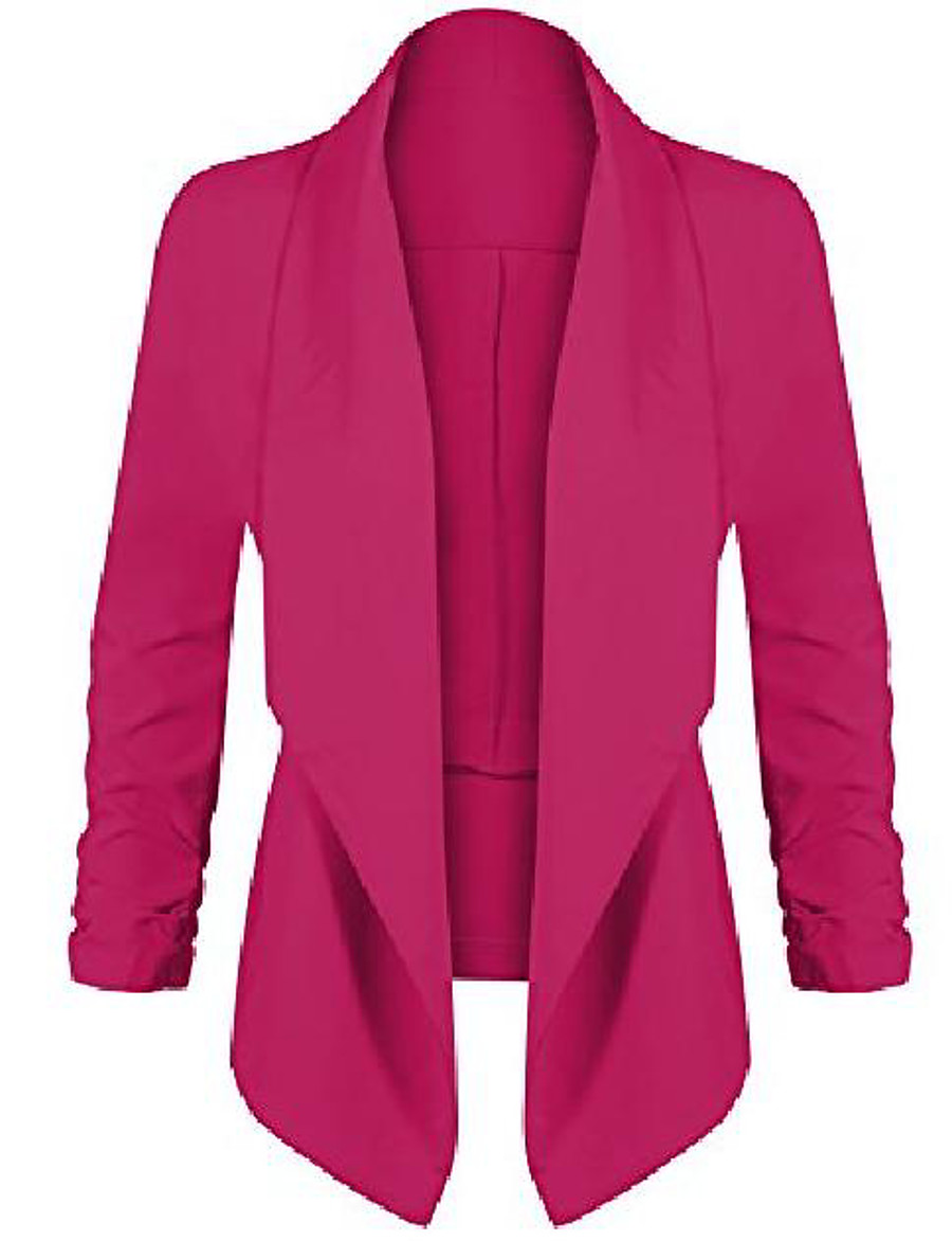 women's lightweight open cardigan blazer jacket with 3/4 sleeves in solid and floral print magenta