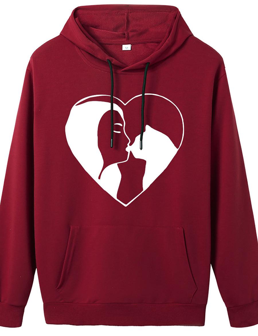 Women's Pullover Hoodie Sweatshirt Cat Graphic Heart Daily Weekend Basic Casual Hoodies Sweatshirts  Wine Red Pink 1 Blue 2