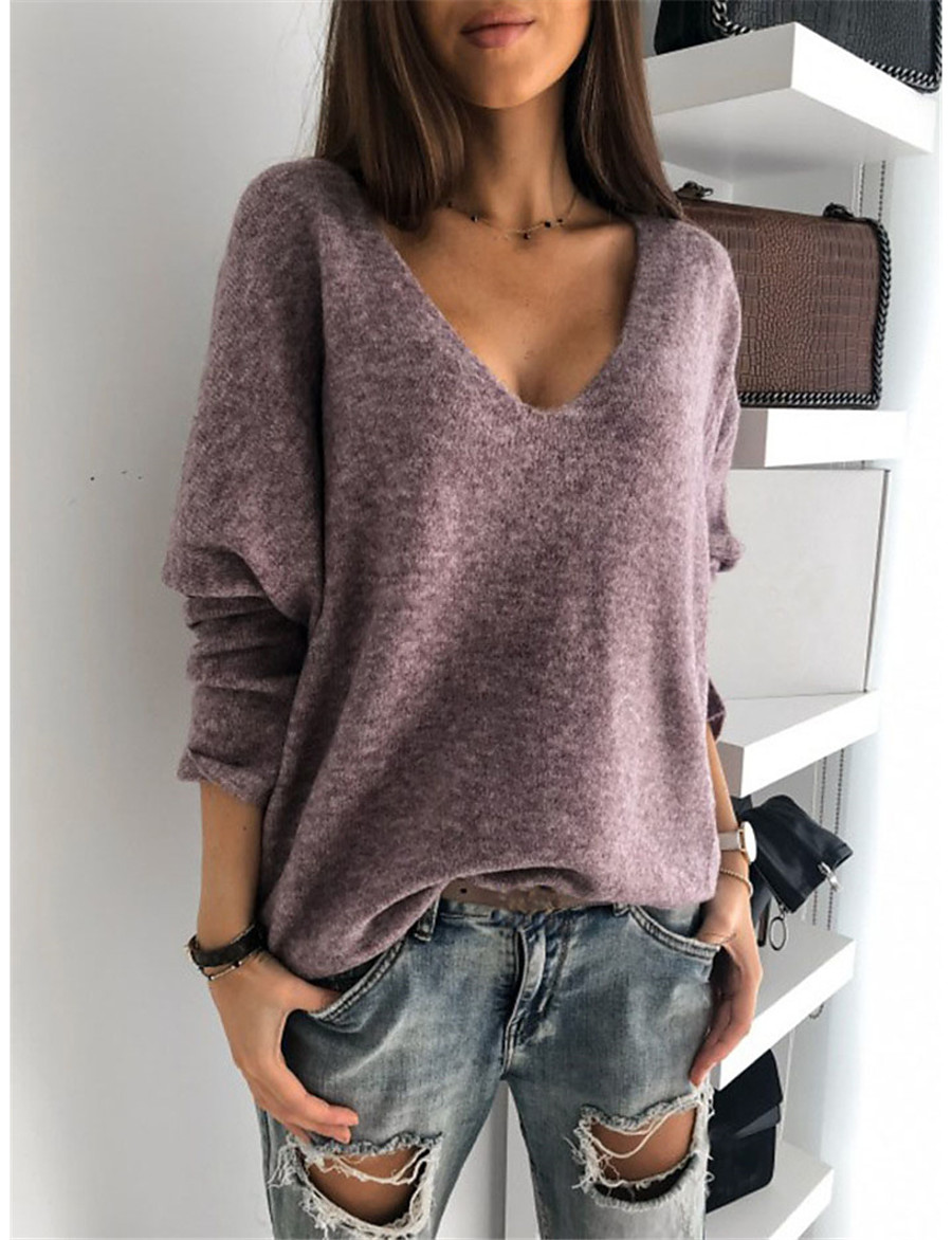 Women's Stylish Knitted Solid Color Pullover Long Sleeve Sweater Cardigans V Neck Fall Winter Purple Red Yellow