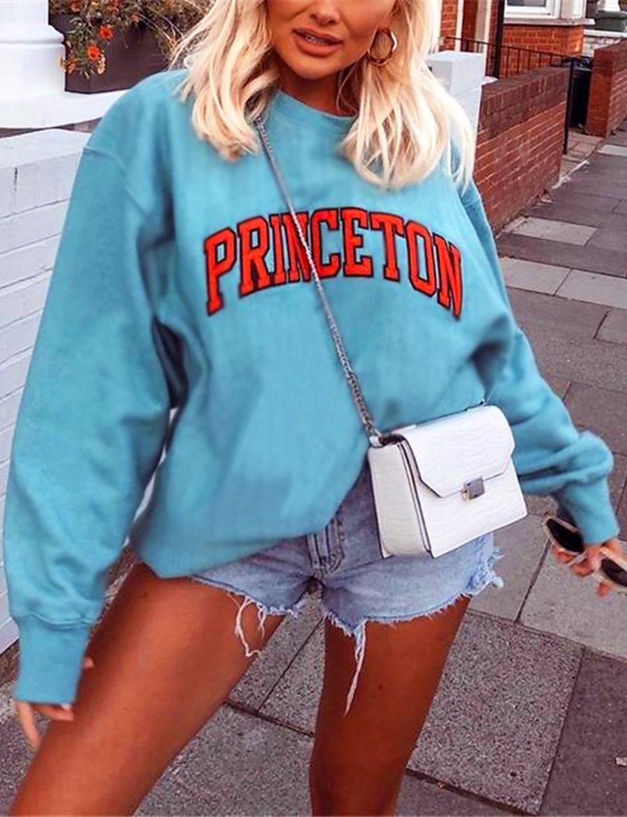 Women's Pullover Sweatshirt Graphic Prints Letter Daily Casual Basic Hoodies Sweatshirts  Cotton Loose Blue