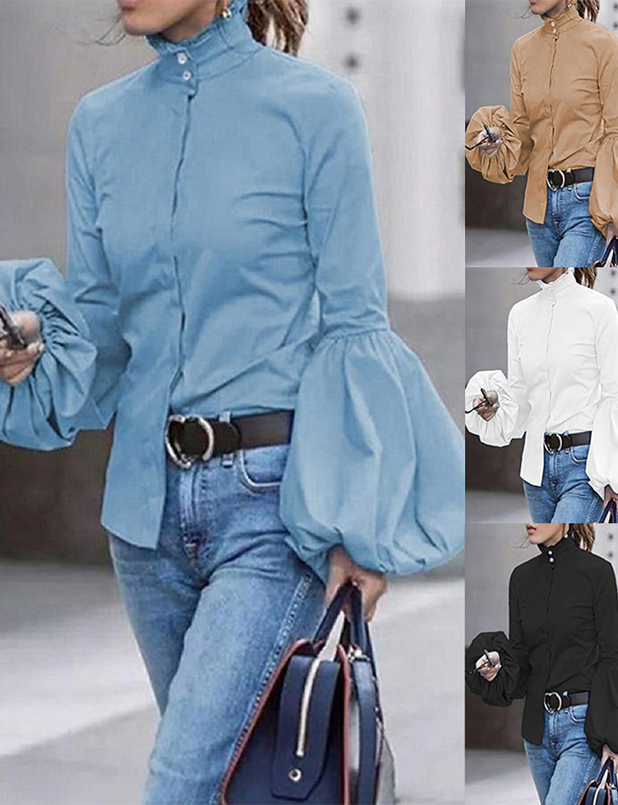 Women's Blouse Shirt Solid Colored Long Sleeve Patchwork Standing Collar Tops Basic Basic Top White Black Blue