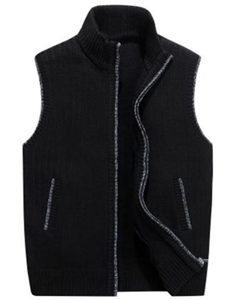 Men's Knitted Solid Color Cardigan Vest Sleeveless Sweater Cardigans Stand Collar Black Blue Wine