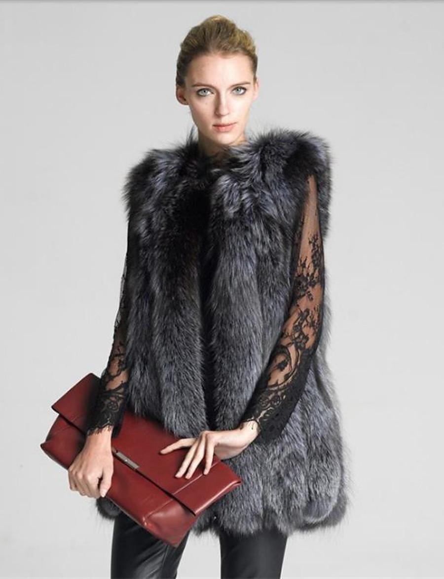 winter womens coat overcoat faux fur vest high-grade furs vest long outwear (6xl) gray
