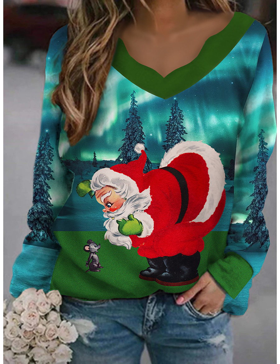Women's Christmas T shirt Cat Graphic 3D Long Sleeve Print Round Neck V Neck Tops Basic Casual Christmas Basic Top White Black Green