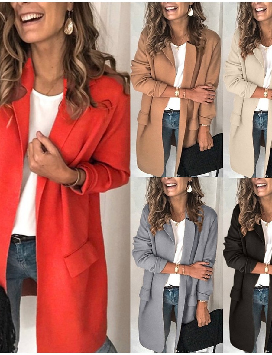 Women's Notch lapel collar Blazer Solid Colored Black / Red / Blushing Pink S / M / L